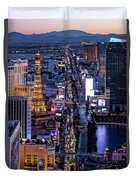 the Strip at night, Las Vegas Duvet Cover