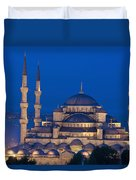 The Sultanahmet Or Blue Mosque At Dusk Duvet Cover