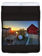The Sun Rising By Motif 1 In Rockport Ma Bearskin Neck Lobster Traps Duvet Cover