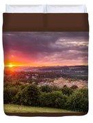 The Sun Sets Over Hexham Duvet Cover