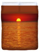 The Sun Sinks Into Pamlico Sound Seen Duvet Cover
