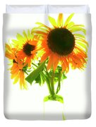 The Sunflowers In A Glass Vase. Duvet Cover