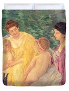 The Swim Or Two Mothers And Their Children On A Boat Duvet Cover by Mary Stevenson Cassatt