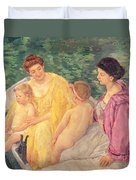 The Swim Or Two Mothers And Their Children On A Boat Duvet Cover