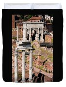 The Temple Of Castor And Pollux At The Forum From The Palatine Duvet Cover