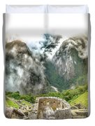 The Temple Of The Sun. Machu Picchu Duvet Cover