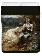 The Temptation Of Sir Percival Duvet Cover by Arthur Hacker