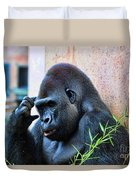 The Thinking Gorilla Duvet Cover