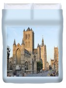 The Three Towers Of Gent Duvet Cover by Marilyn Dunlap