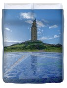 The Tower Of Hercules And The Rose Of The Winds Duvet Cover