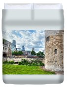The Tower Of London And The City District With Gherkin Skyscraper, The Uk Duvet Cover