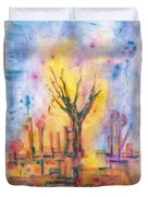 The Tree On The Road. 19 March, 2016 Duvet Cover