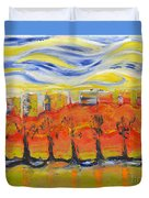 The Trees In Red. Day_march, 28  2015, Nizhny Novgorod, Russia Duvet Cover