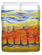 The Trees In Red. Day_march, 28  2015, Nizhny Novgorod, Russia_ Duvet Cover