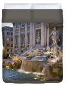 The Trevi Fountain At Dusk Duvet Cover