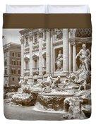 The Trevi Fountain In Sepia Tones Duvet Cover