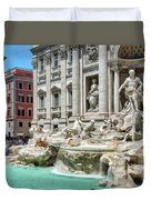 The Trevi Fountain In The City Of Rome Duvet Cover