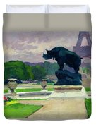 The Trocadero Gardens And The Rhinoceros Duvet Cover by Jules Ernest Renoux