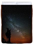 The Trunk Of A Dead Tree, Milky Way And Meteor Duvet Cover