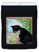 The Tuxedo Cat And The Fish Bowl Duvet Cover