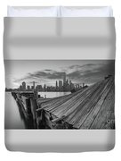 The Twisted Pier Panorama Bw Duvet Cover