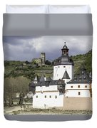 The Two Castles Of Kaub Germany Duvet Cover