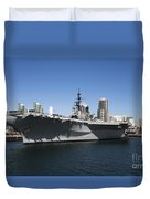The U S S Midway Docked In San Diego Duvet Cover