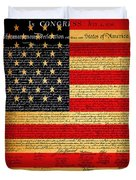 The United States Declaration Of Independence - American Flag - Square Duvet Cover