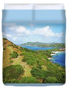 The View From Fort Rodney On Pigeon Island Gros Islet Blue Water Duvet Cover