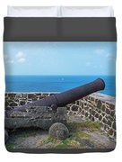 The View From Fort Rodney On Pigeon Island Gros Islet Saint Lucia Cannon Duvet Cover