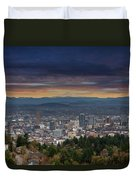 The View From Pittock Mansion Viewpoint Duvet Cover