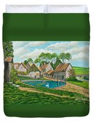 The Village Pond In Wroxton Duvet Cover