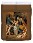 The Virgin Adorned With Flowers Duvet Cover