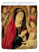 The Virgin And Child Adored By Angels  Duvet Cover