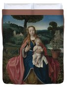 The Virgin And Child In A Landscape Duvet Cover