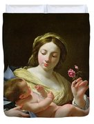 The Virgin And Child With A Rose Duvet Cover