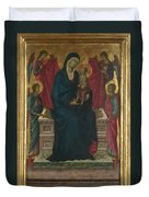 The Virgin And Child With Four Angels Duvet Cover
