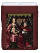 The Virgin And Child With Saint Anne Duvet Cover