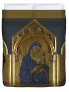 The Virgin And Child With Saints Dominic And Aurea Duvet Cover