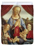 The Virgin And Child With Two Angels Duvet Cover