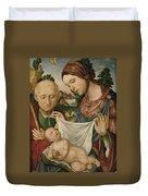 The Virgin And Saint Joseph  Adoring The Christ Child Duvet Cover