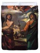 The Virgin Appearing To Saints John The Baptist And John The Evangelist 1520 Duvet Cover