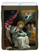 The Virgin Sewing Accompanied By Four Angels. La Couseuse Duvet Cover