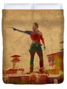 The Walking Dead Watercolor Portrait On Worn Distressed Canvas No 1 Duvet Cover