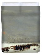 The War Of 1870 An Infantry Column On Their Way To A Raid Duvet Cover