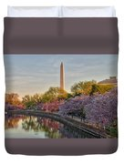 The Washington Monument And The Cherry Blossoms Duvet Cover