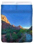 The Watchman Zion National Park Duvet Cover