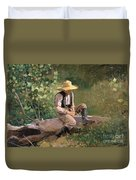 The Whittling Boy Duvet Cover