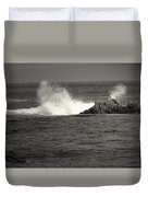 The Wild Pacific In Black And White Duvet Cover
