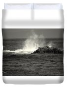 The Wild Pacific In Black And White Two Duvet Cover